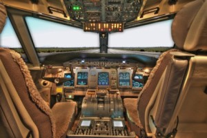 Photo of airline cockpit